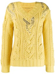 Ermanno Scervino Cable Knit Jumper Yellow
