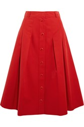 Vanessa Seward Demeter Pleated Cotton Gabardine Skirt Red