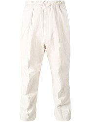 By Walid Morton Cropped Trousers Men Cotton Linen Flax L Nude Neutrals