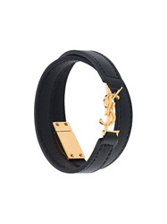 Saint Laurent Logo Embossed Double Wrap Bracelet Black