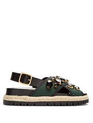 Marni Fusbett Slingback Neoprene And Leather Sandals Green Multi