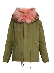 Mr And Mrs Italy Fur Lined Canvas Short Parka Khaki Multi