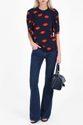 Victoria Beckham Women S Gathered Sleeve Top Boutique1 Scattered Lips Navy