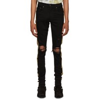Amiri Black And Gold Glitter Track Jeans
