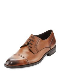 Ermenegildo Zegna Leather Cap Toe Derby Shoe Brown