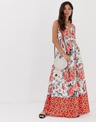 Parisian Wrap Front Floral Border Print Maxi Dress Multi