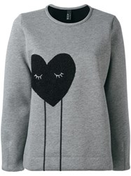 Mother Of Pearl Applique Heart Sweatshirt Grey