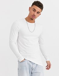 Only And Sons Slim Fit Long Sleeve Top In White