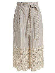 Zimmermann Meridian Striped Broderie Anglaise Cotton Trousers Blue Stripe