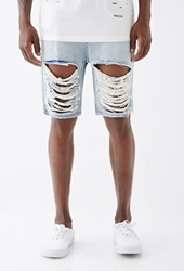 Forever 21 Destroyed Denim Shorts Light Denim