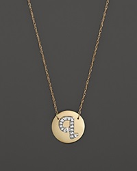 Jane Basch 14K Yellow Gold Circle Disc Pendant Necklace With Diamond Initial 16 Q