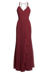 Hayley Paige Occasions Women's Chiffon Gown Burgundy
