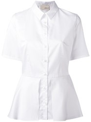 Elaidi Peplum Hem Short Sleeve Shirt White