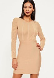 Missguided Nude Bandage And Mesh Stripe Bodycon Dress Camel