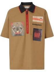 Burberry Short Sleeve Montage Print Cotton Shirt Brown