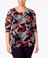 Alfani Plus Size Tiered Printed Mesh Top Only At Macy's Retro Arches