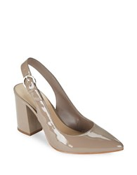 424 Fifth Lisa Patent Slingback Pumps Mocha