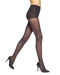 Hue Lattice Diamond Sheer Control Top Tights Black