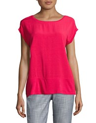 Lord And Taylor Solid Mixed Media Tee Hot Pink