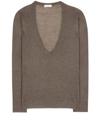 Brunello Cucinelli V Neck Knitted Sweater Grey