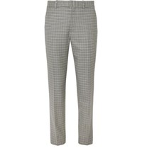 Rag And Bone Patrick Checked Wool Cotton Blend Trousers Gray