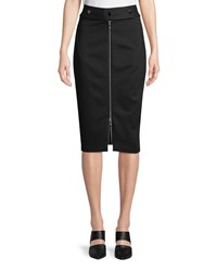 Elie Tahari Genisis Zip Front Knee Length Pencil Skirt Black