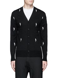 Neil Barrett Thunderbolt Intarsia Cotton Cardigan Black