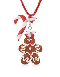 Dolci Gioie Candy Cane And Gingerbread Man Necklace Brown