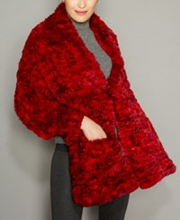 The Fur Vault Knitted Chinchilla Cape Red