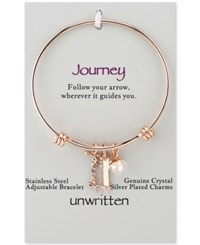 Unwritten Rose Gold Tone Journey And Crystal Arrow Adjustable Bangle Bracelet In Stainless Steel