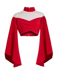 Balmain High Neck Tulle Insert Cropped Top Red