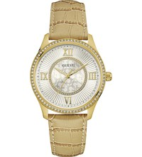 Guess W0768l2 Broadway Gold Plated And Leather Watch