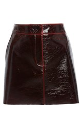 Tibi Patent Coated Mini Skirt Red