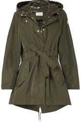 Moncler Hooded Gabardine And Glossed Shell Jacket Army Green