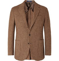 Polo Ralph Lauren Brown Slim Fit Checked Wool And Alpaca Blend Blazer Brown