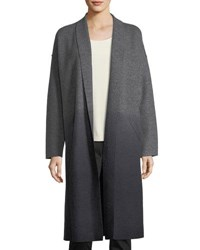 Eileen Fisher Ombre Boiled Wool Kimono Coat Ash Charcoal
