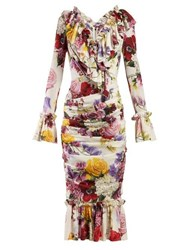 Dolce And Gabbana Rose Hortensia Print Crepe Midi Dress White Multi