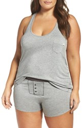 Honeydew Intimates Plus Size Women's Ribbed Short Pajamas Heather Grey