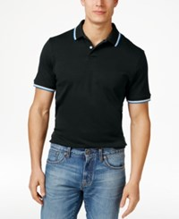 Club Room Men's Interlock Tipped Polo Only At Macy's Deep Black