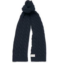 Oliver Spencer Cable Knit Wool Blend Scarf Navy