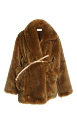 Isa Arfen Belted Faux Fur Asymmetric Coat Brown