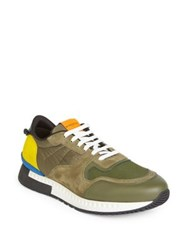 Givenchy Colorblocked Active Running Sneakers Khaki Yellow