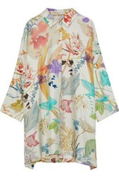 Agnona Woman Oversized Floral Print Silk Twill Shirt Neutral