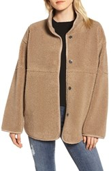 Velvet By Graham And Spencer Reversible Lux Faux Shearling Coat Tan