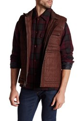 Robert Graham Genuine Lamb Leather Woven Vest Brown