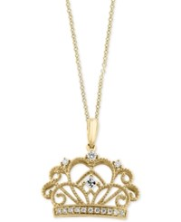 Effy Diamond Crown Pendant Necklace 1 8 Ct. T.W. In 14K Gold Yellow Gold
