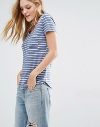 Abercrombie And Fitch Core V Neck Slouchy T Shirt In Stripe Multi