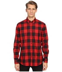 Dsquared Relax Dan Check Cotton Shirt Black Red Men's Clothing