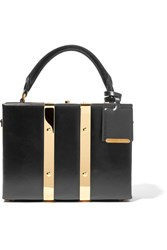 Sophie Hulme Albany Mini Glossed Leather Tote Black