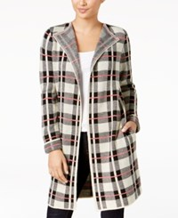 Ny Collection Petite Open Front Plaid Cardigan Lysett